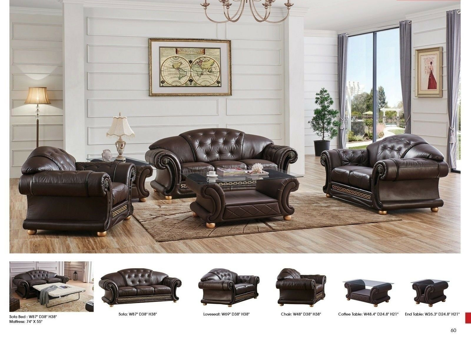 Marvelous Brown Genuine Top Grain Italian Leather Luxurious Living Room Sofa Loveseat Set Pdpeps Interior Chair Design Pdpepsorg