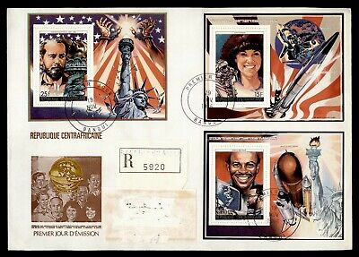 DR WHO 1986 CENTRAL AFRICAN REPUBLIC FDC SPACE SHUTTLE S/S COMBO  Lg20592