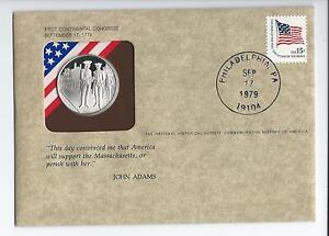 *RARE*FIRST CONTINENTAL CONGRESS-STERLING SILVER MEDAL-FIRST DAY COVER