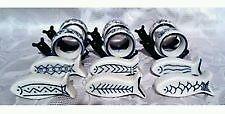 6 Retro Porcelain blue and white snail napkin rings