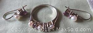 Vintage Sterling Silver Pearl and Amethyst Stone Ring and Earrings Set