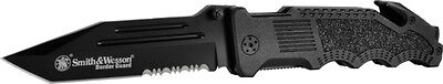 S&W Border Guard 2 w/Black Coated 40% Ser Stainless Blade Coated Handle SWBG2TS Coated Stainless Handle Black Blade