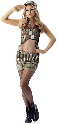 Army Arnie Soldatin Cadet Armee realistischer Fotodruck Karneval Kostüm S-L