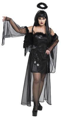 Halloween Damen Kostüm Dark Angel als schwarzer Engel an - Dark Angel Halloween Kostüm