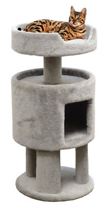 Carpeted Cat Condo with Large Cat Bed on Top ()
