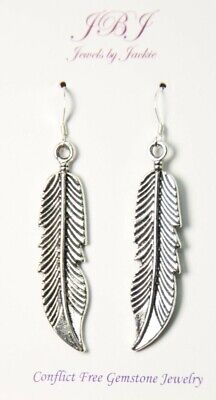 Feather Earrings Wings 925 sterling silver hooks pewter charms Charm -