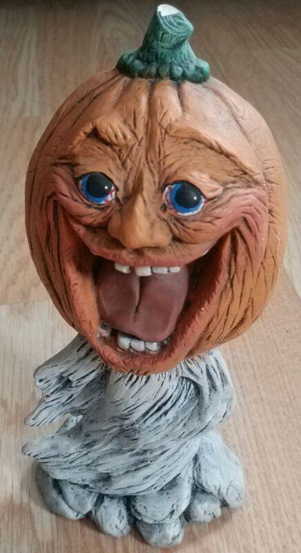 "Vtg 8"" Pumpkin Head Creepy Happy Jack O Lantern Man Figurine Ceramic Halloween"