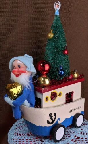Kitschmas OOAK Assemblage Centerpiece Handmade w/ NOS Vintage Elf See