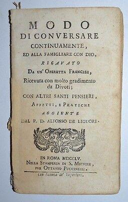RELIGIONE - ediz. 1755 - Roma - raro - modo di conversare