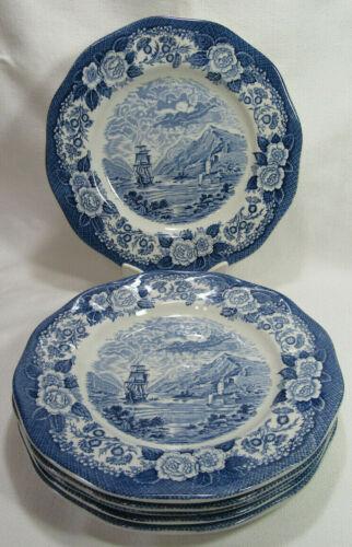 Royal Warwick England LOCHS OF SCOTLAND Six (6) Dinner Plates