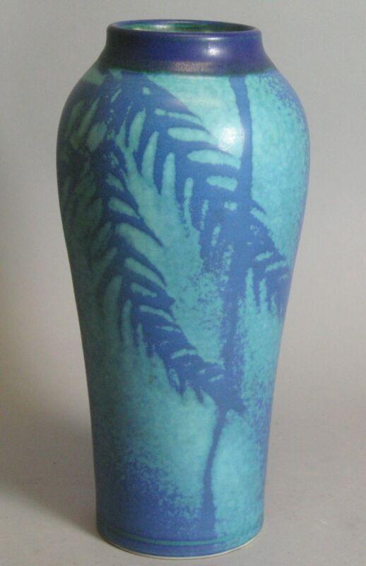 """Superb Antique 11"""" Art & Crafts Pottery Vase  c. 1920  American Impressed Mark +"""