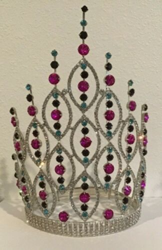 "Tall Pageant Style Crystal Rhinestone Round Adj Crown Tiara 10"" Tall T-4"