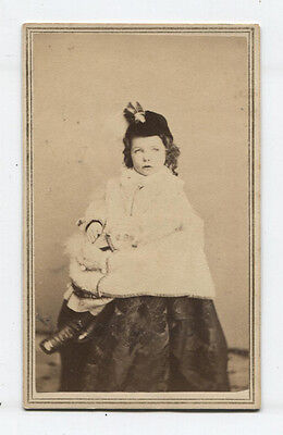 CIVIL WAR ERA CDV  TAX STAMP. VERY PRETTY LITTLE GIRL, STYLISH OUTFIT. N.Y.](Civil War Outfits)