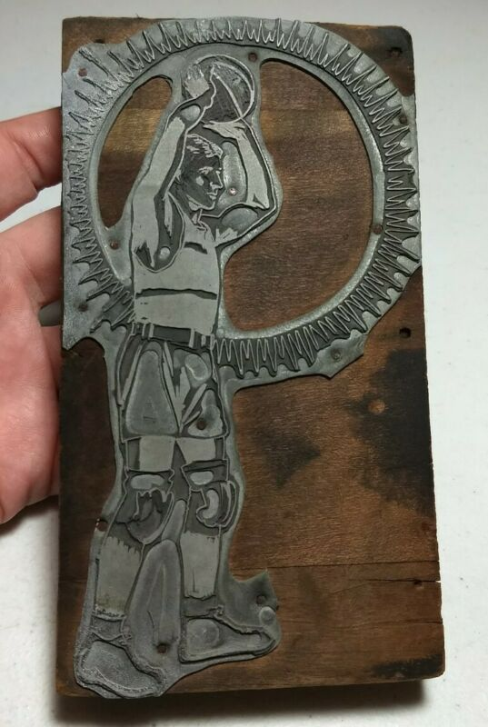 Vintage Letterpress Printing Block Basketball Player Large Size