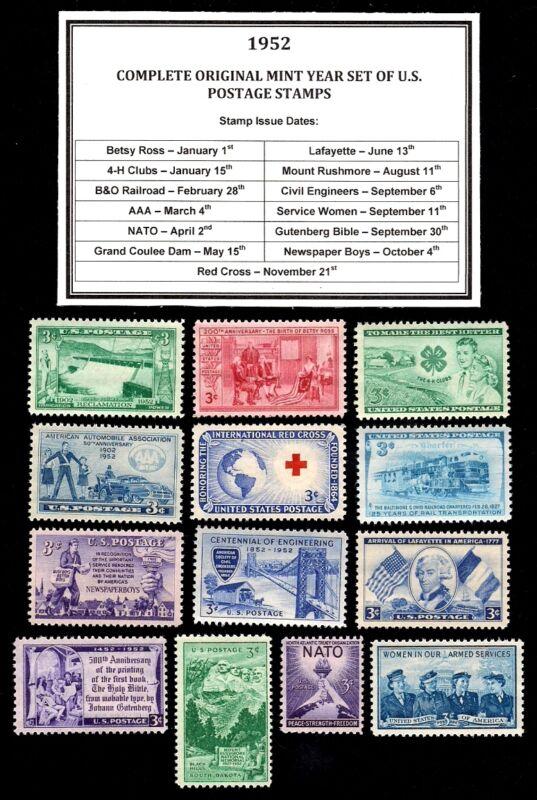 1952 COMPLETE YEAR SET OF MINT -MNH- VINTAGE U.S. POSTAGE STAMPS