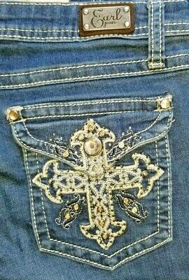 EARL Woman Embroidered Jean Pant Bling Size 11 Rhinestone Juniors waist 32 cross