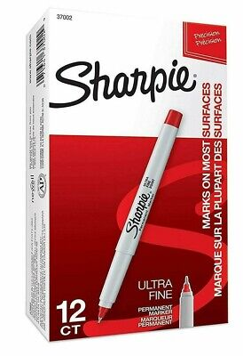 Sharpie Precision Permanent Markers - San37002 Ultra Fine Tip Red 12 Each