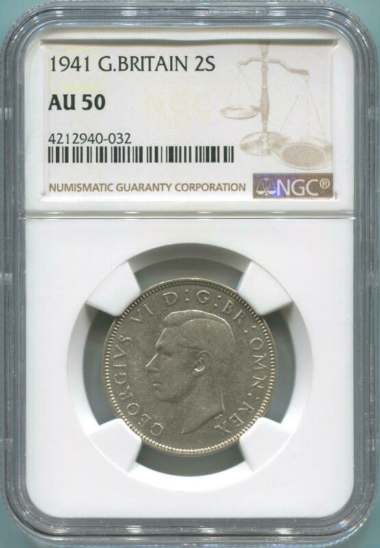 1941 Great Britain 1 Florin, 2 Shillings. NGC AU50