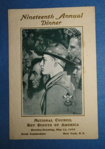 1929 Boy Scouts, BSA National Council Annual Dinner Program, Norman Rockwell Pic