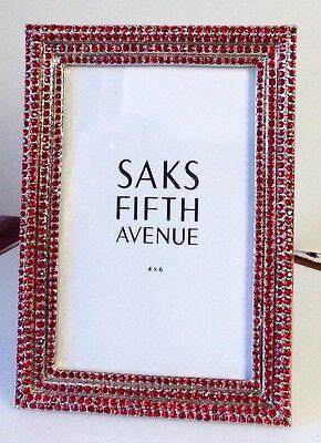 Saks Fifth Avenue Blazing Red Swarovski Crystal Photo Frame
