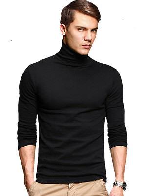 KUEGOU Men T Shirt Long Sleeve Turtleneck Fitness Clothing Elasticity Basic Tees