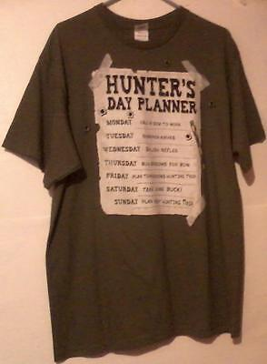 Hunters Daily Planner Funny Mens T-Shirt  XL Green 100% Cotton S/S Delta Apparel
