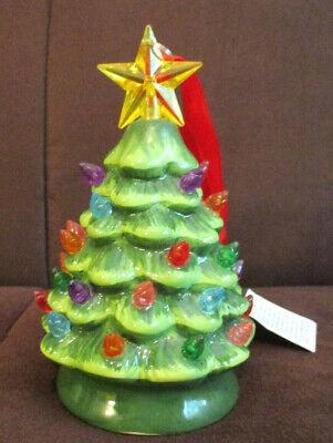 Mr Christmas Nostalgic Mini Ceramic Green Christmas Tree Light Up Ornament