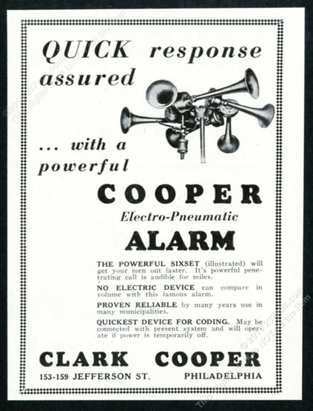 1930 Clark Cooper alarm Electro Pneumatic sixset photo vintage trade print ad