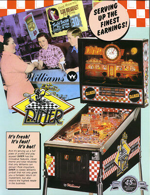 DINER 1990 Original NOS Arcade Pinball Machine Flyer WILLIAMS Great Promo Art