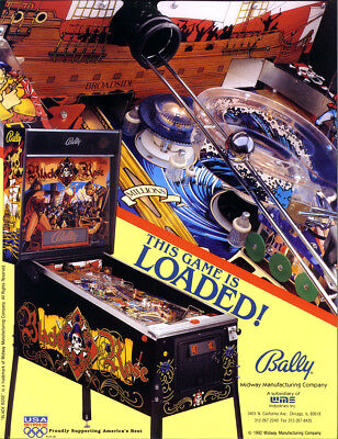 BLACK ROSE Pinball FLYER Original 1992 NOS Pirate Theme Artwork Promo BALLY (Theme Pirate)