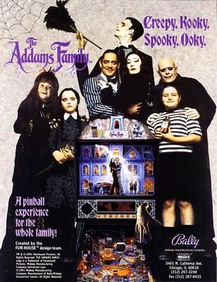 The Addams Family Pinball FLYER Original NOS Halloween Horror Goth Artwork Bally