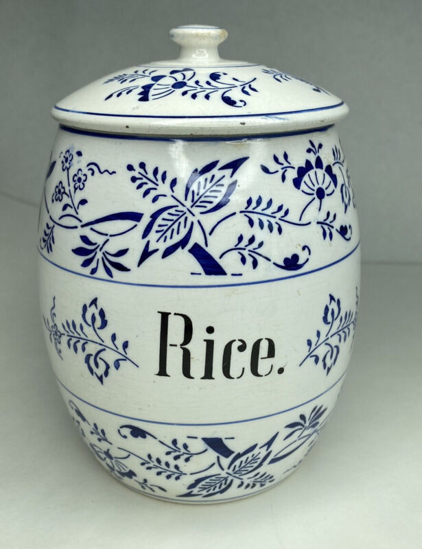Vintage Germany White Blue Rice Canister Jar Lid Container Decor Farmhouse