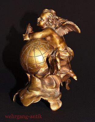 Bronzefigur: Engel mit Weltkugel und Zirkel, um 1850