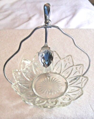 """ANTIQUE CRYSTAL 5.5 """" JELLY DISH W/ CHROMIUM  PLATED SPOON, SHEFFIELD  ENGLAND"""