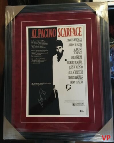 AL PACINO Autographed SCARFACE Movie 21x28 Custom Framed Poster w/ Beckett COA