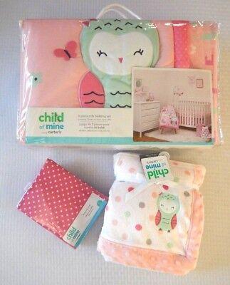 Carters Baby Girl Pink Owl Unicorn Princess Crib Bedding Set, Sheet And