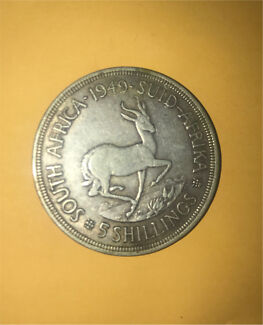 Silver South Africa 1949 five/  5 shillings Springbok REX George coin