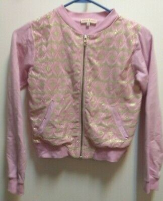 Anne Kurris Girls Jacket Bomber Style, Pink with Gold Size 12