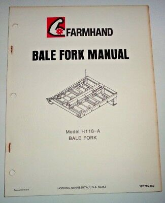 Farmhand H118-a Bale Fork Operators Owners Parts Manual