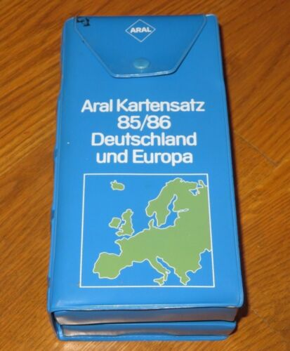 ARAL KARTENSATZ 85/86 DEUTSCHLAND & EUROPA 16 Vintage Maps plus Book in Case