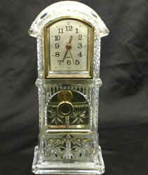 Clear Mantle Clock Grandfather Pendulum Style Gold Trim Time Piece Home Decor