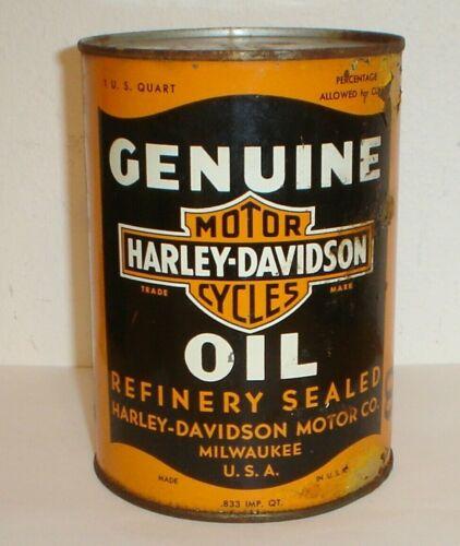 Vintage Harley-Davidson Original Tin Quart Motorcycle Oil Can (Bottom Opened)