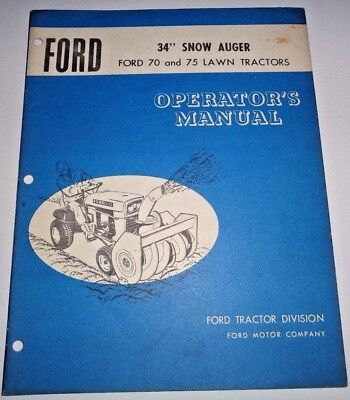 Ford 34 Snow Auger Thrower Operators Parts Manual Fits 70 75 Lawn Tractors