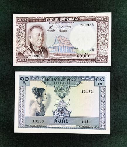 (2) Lao 10 Kip and 100 Kip Banknote gem uncirculated