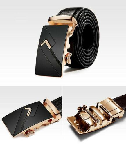 Luxury Mens Black Leather Ratchet Belt Automatic Buckle Waist Strap Waistband