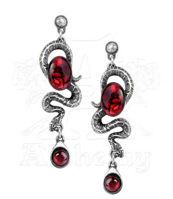 New Alchemy Gothic Serpents Eye Red Pewter Snake Pair Earrings E336