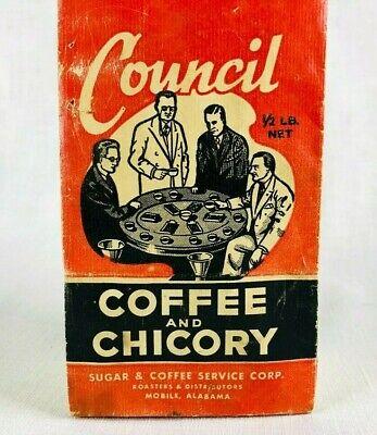 1930s Handbags and Purses Fashion Vintage Council Coffee and Chicory 1/2 lb Paper Bag Mobile Alabama 1930s  $10.95 AT vintagedancer.com