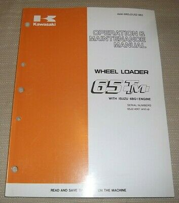 Kawasaki 65tm Wheel Loader Operation Maintenance Book Manual 65j24001-up-up