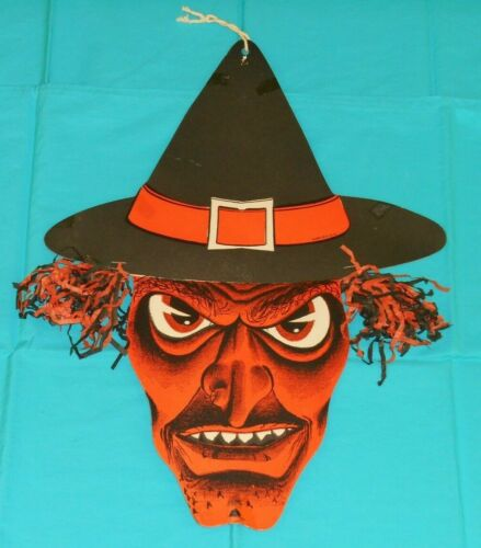 vintage Halloween LARGE WITCH HEAD WITH TISSUE CREPE PAPER HAIR decoration