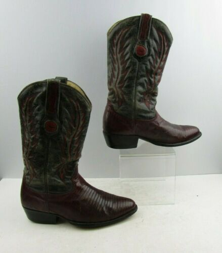 Mens, Forastero, Two, Tone, Distressed, , Lizard, Skin, Western, Cowboy, Boots, Size, :, 9,